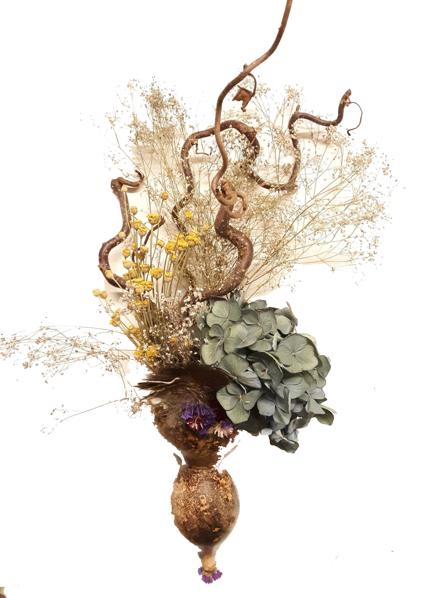 dried gourd filled with dried flowers and curly willow