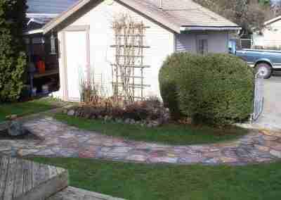 Stone path through back yard