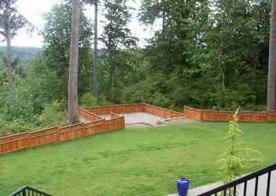 large yard fence construction