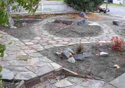 Flagstone path through front yard