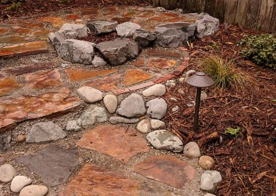 Rock stairs with landscaping