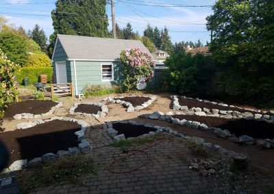 Rock surrounded planting beds