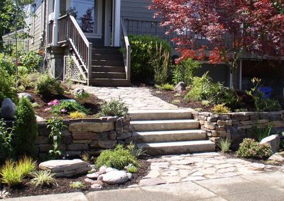 Rock path, stairs & retaining wall