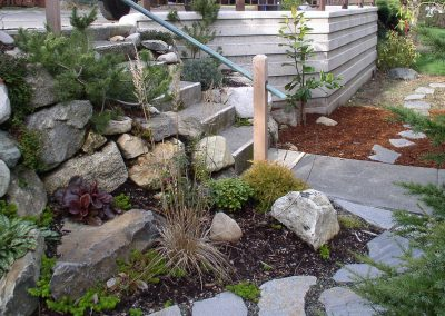 Rock path, retaining wall and stairs