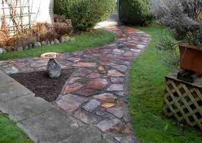 Rock pathway through yard