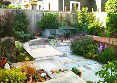 Custom colorful concrete patio and landscaping
