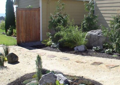 Sandstone path and landscaping