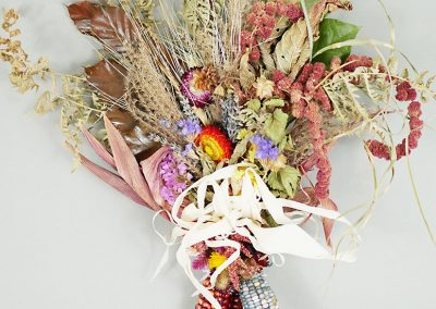 Fall dried flower and corn wall hanging