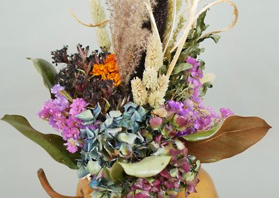 Tabletop gourd and flower centerpiece