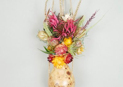 Gourd window hanging with dried flowers