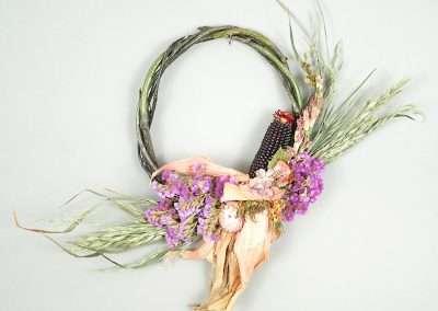 Fall flower and corn wreath