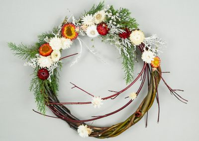 Dried flower and cedar wreath