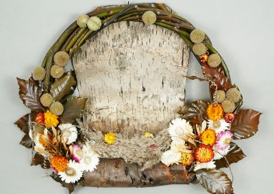 Fall wreath with bark and dried flowers