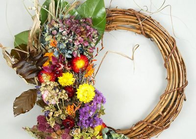 Dried flower fall wreath