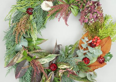 Winter cedar and dried flower wreath