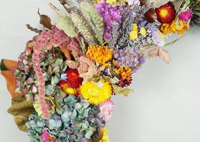 Dried flower wreath closeup