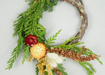 Cedar and dried flower wreath