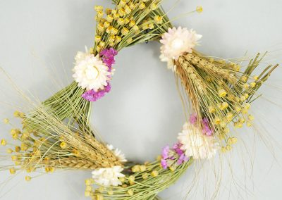 Square dried flower wreath